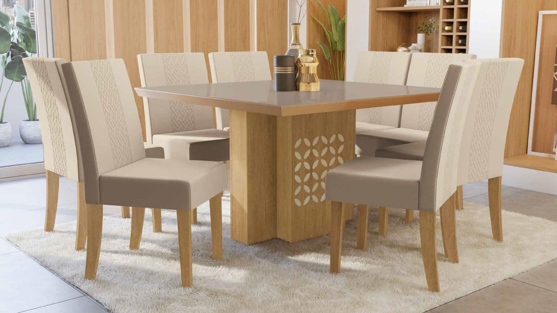 Mesa com 6 Cadeiras para Sala de Jantar Bétula