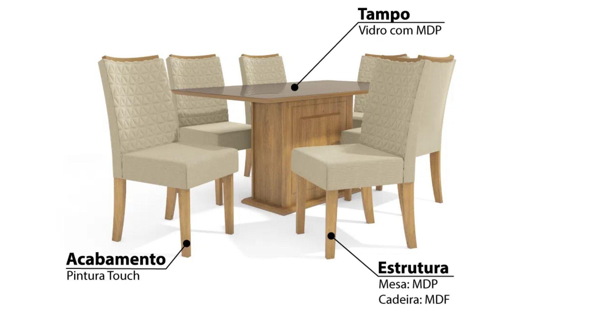 Mesa de Jantar Acerola Tampo Retangular com 6 Cadeiras em Linho