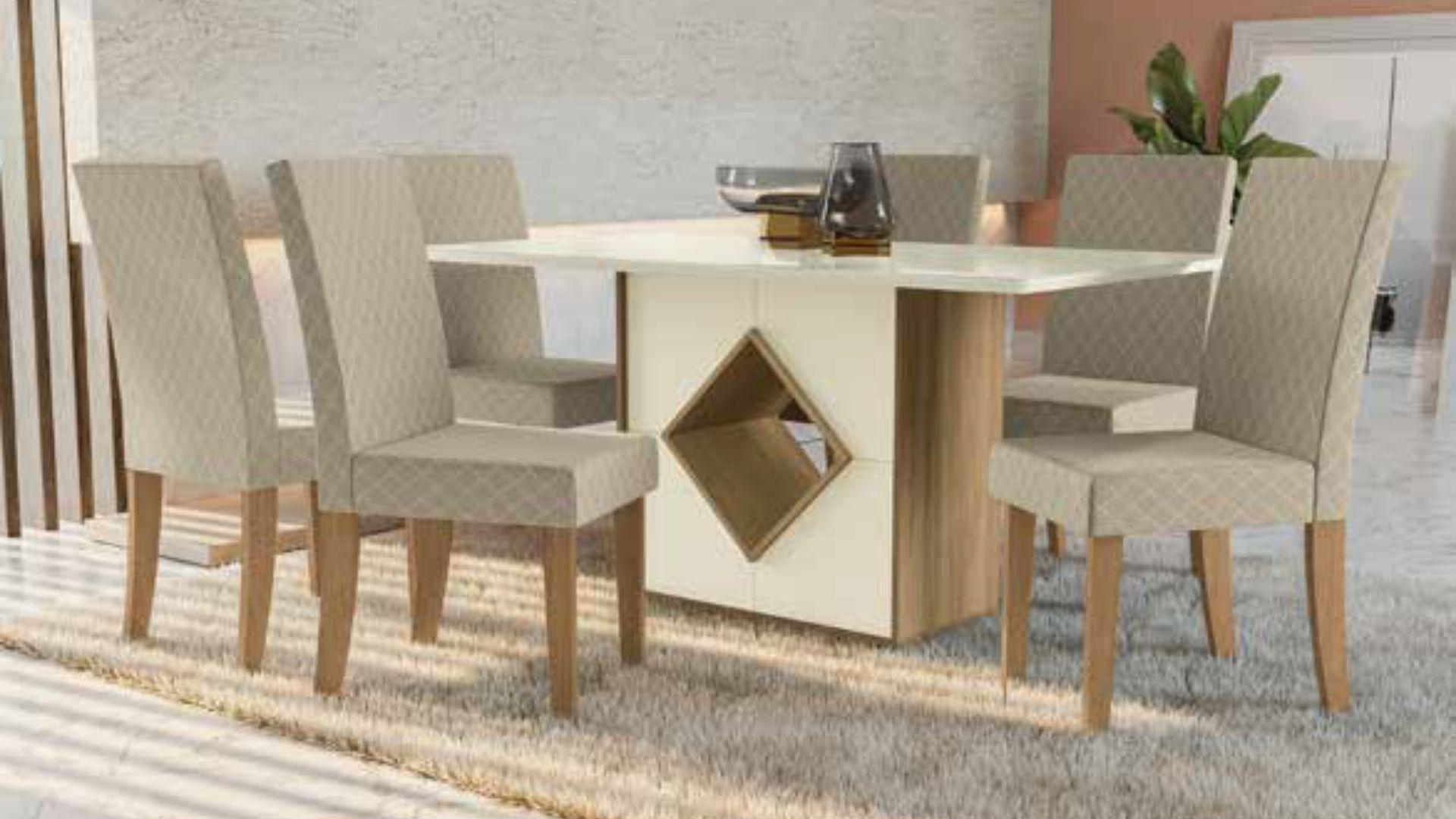 Mesa de Jantar com 4 e 6 Cadeira Cambará