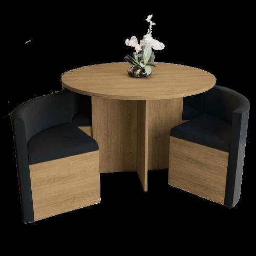 Mesa de Jantar Nira com 4 Cadeiras - Freijó/Linho
