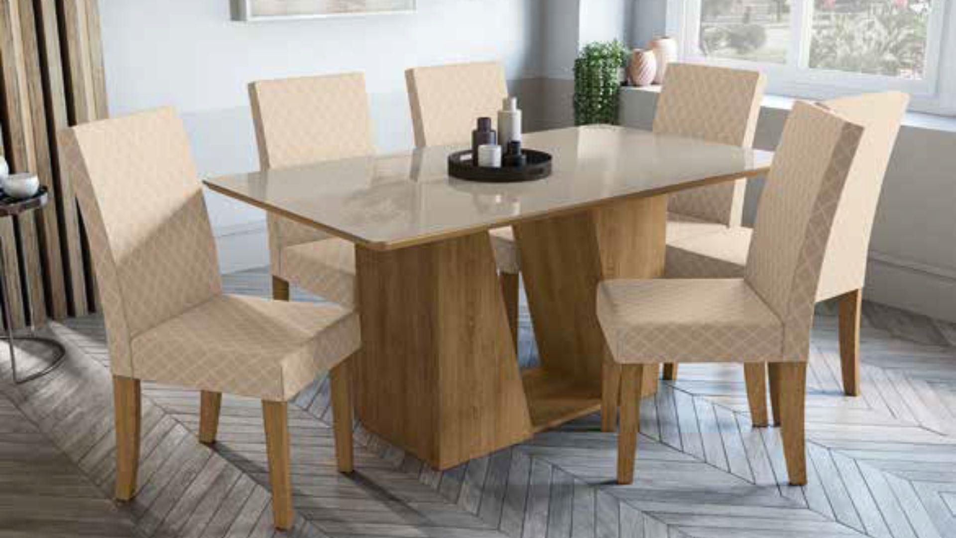 Mesa de Jantar Retangular 6 Cadeiras  Romã