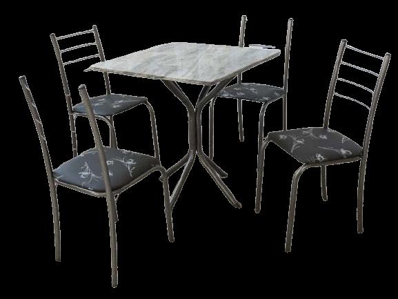 Mesa Rio + Base Virginia 70×70 4 Cadeiras Martelado