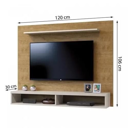 Painel para TV até 50 Polegadas com 2 Nichos Topázio Contemporâneo Mavaular