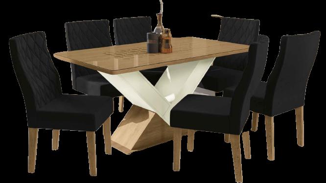 Sala de Jantar Amora Mesa com 6 Cadeiras Freijó/Off