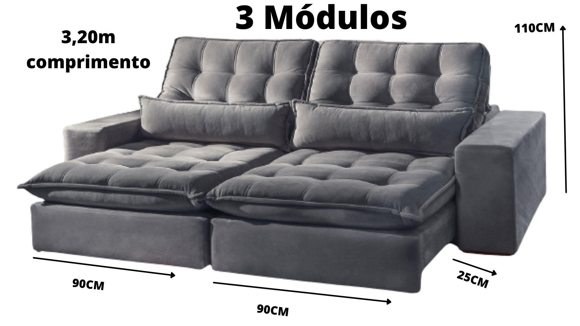 Sofá de 2 módulos Brasil ,Reclinável com Molas no Assento e Almofadas, Tecido Suede