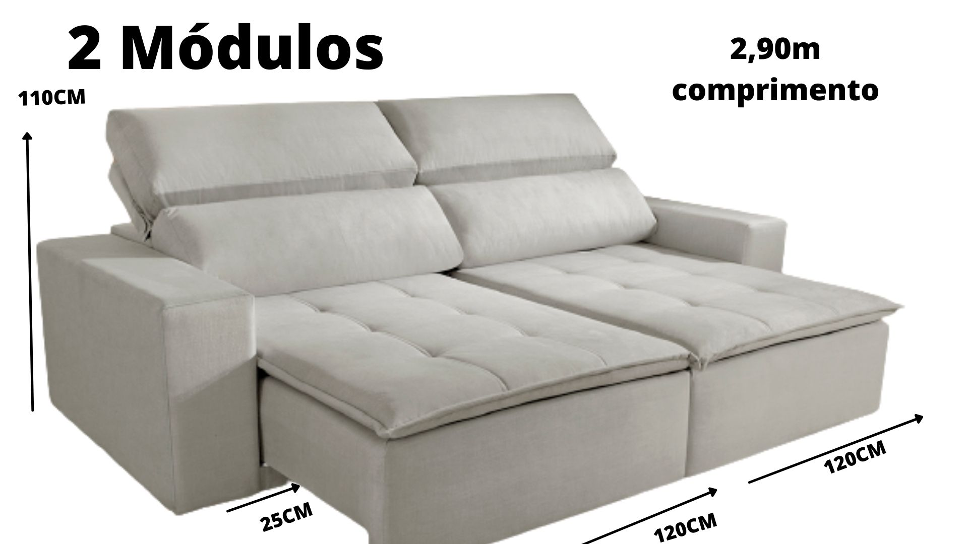 Sofá Double 2 módulos de Linho
