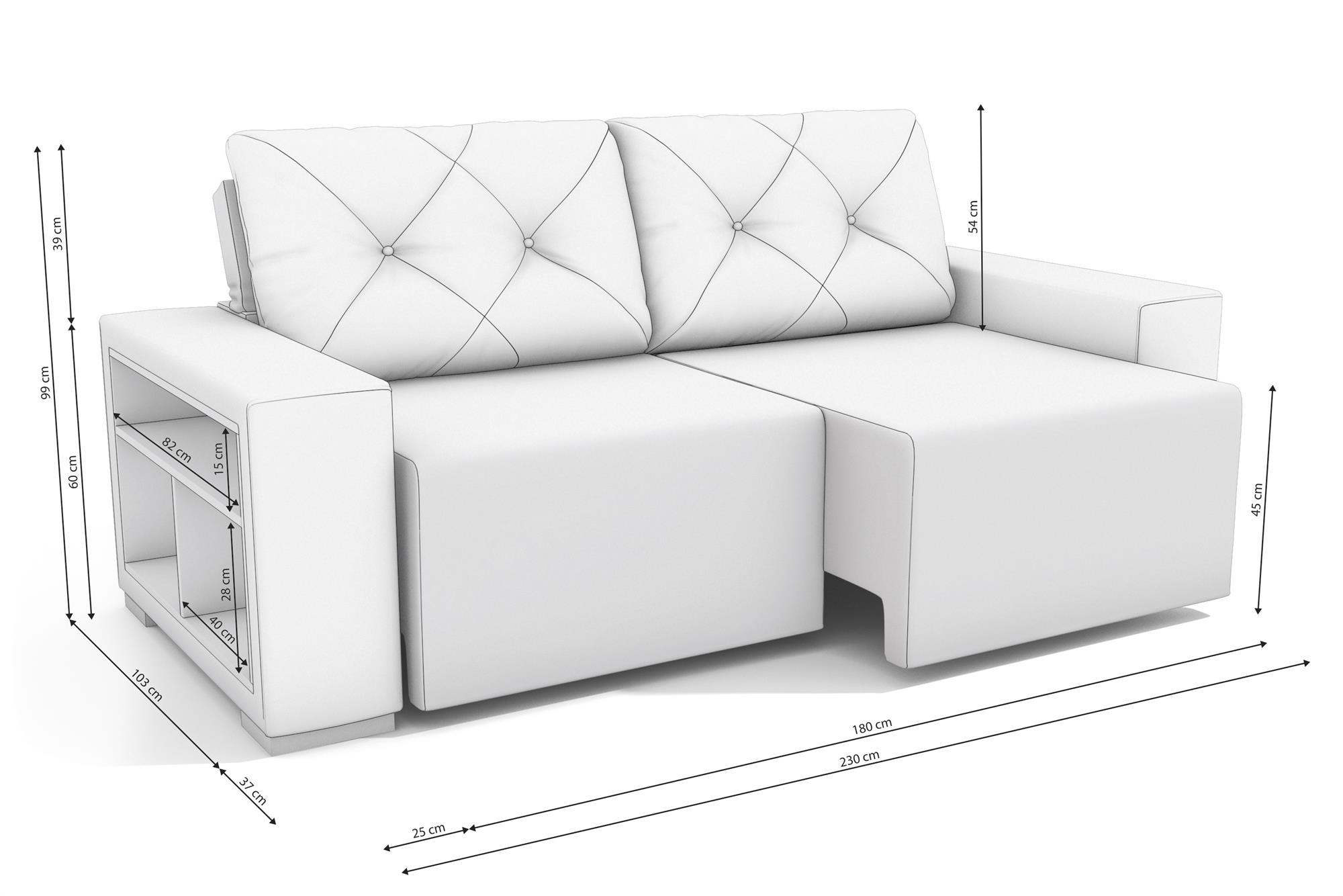 Sofá Retrátil e Reclinável com nicho Ômega