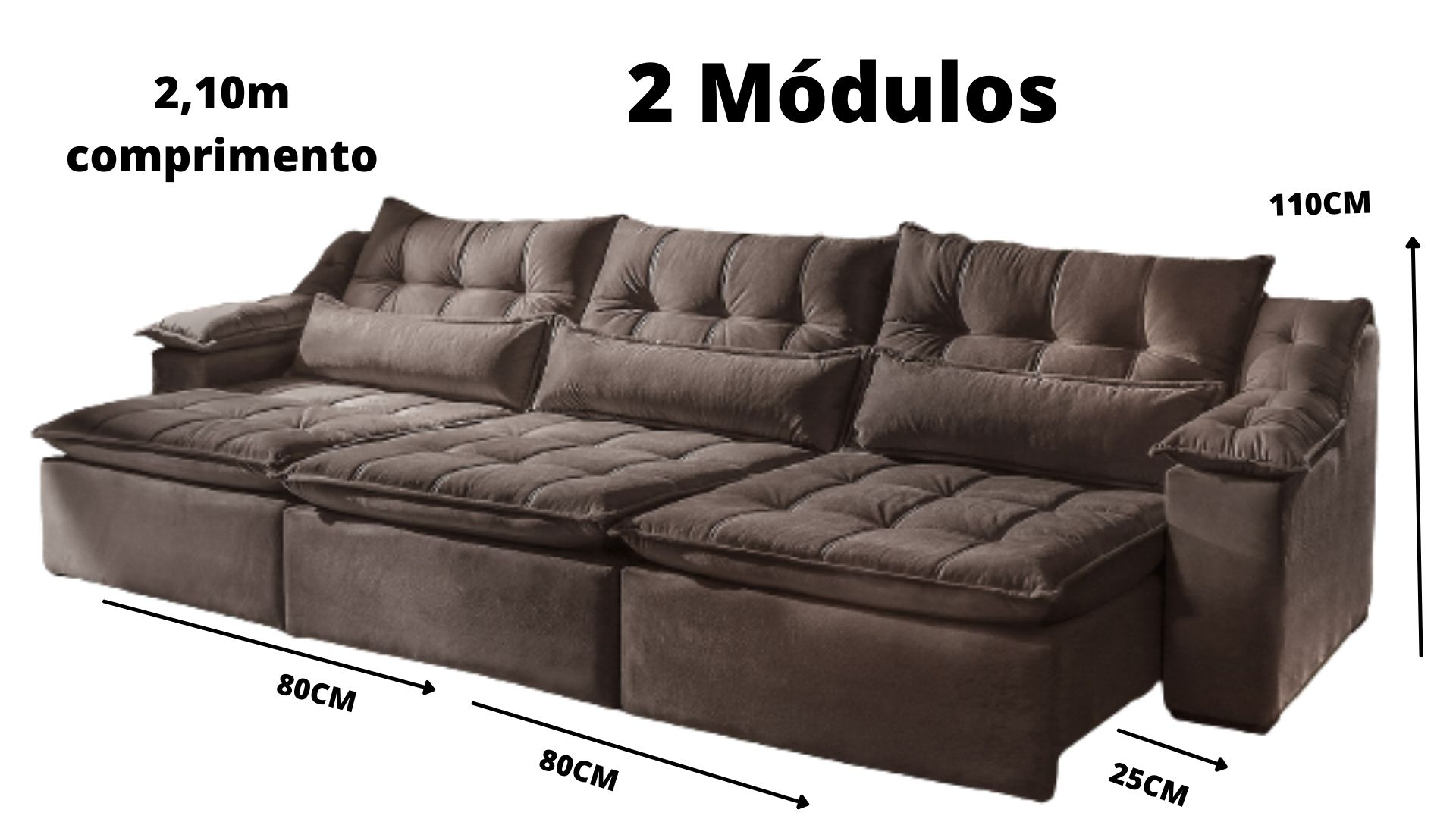 Sofá Retrátil e Reclinável  Portugal 3 módulos