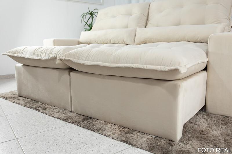 Sofá Retrátil Reclinável Monte 2.30m Veludo Premium Bege 09