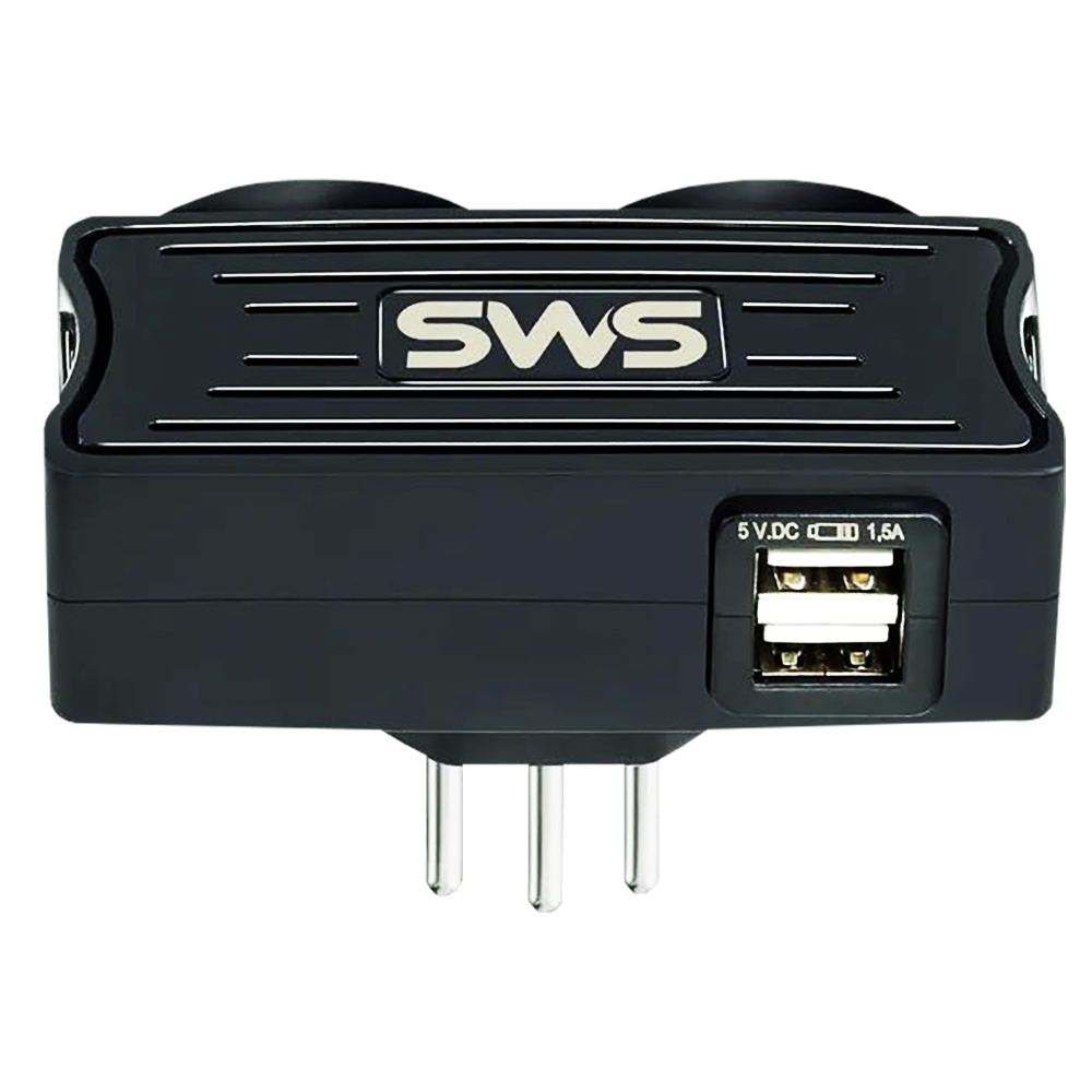 CARREGADOR SMS 2 USB + 2 TOMADAS PRETO