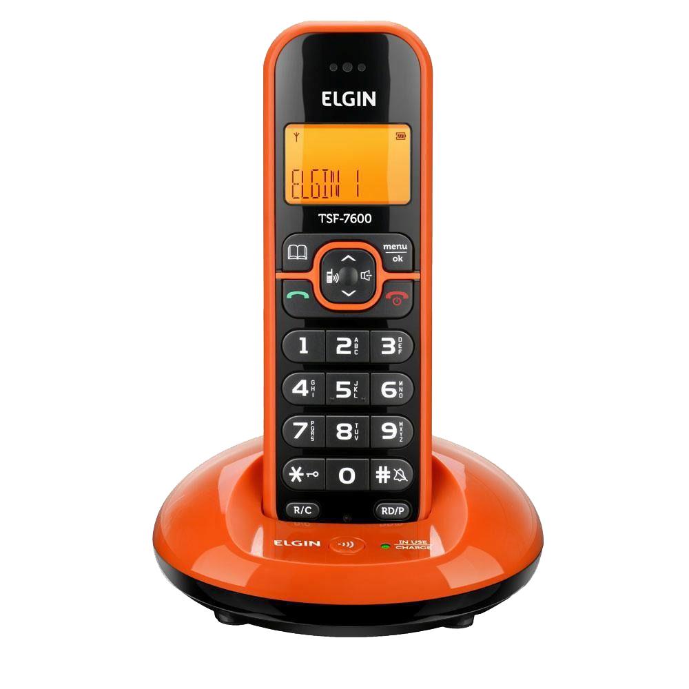 TELEFONE SEM FIO LARANJA COM IDENTIFICADOR DE CHAMADAS ELGIN TSF7600