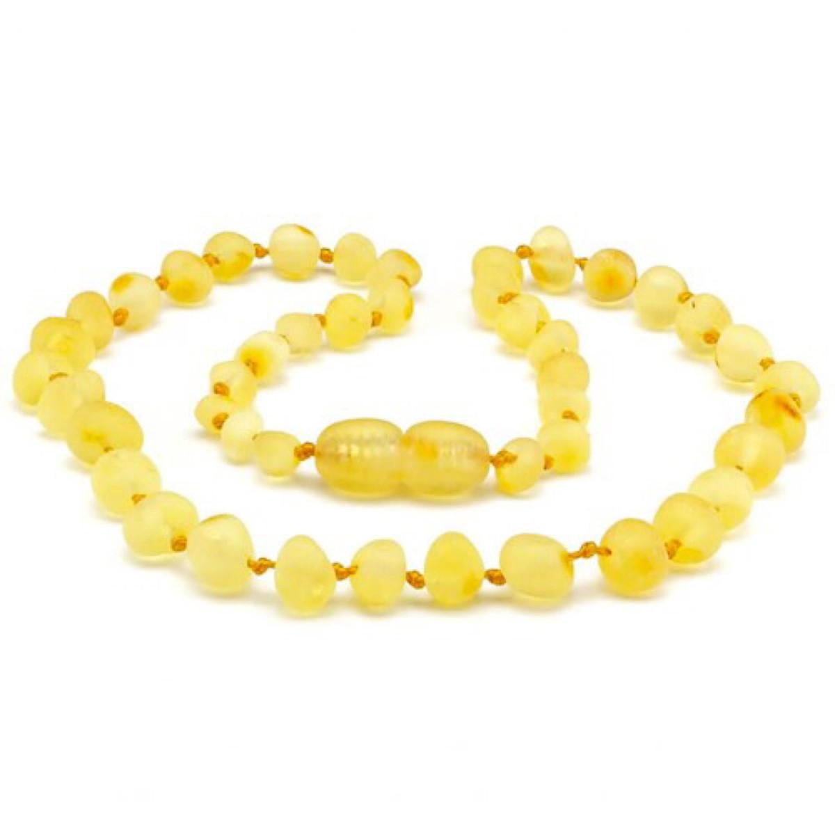 Colar de Âmbar Adulto Limão Barroco Bruto - 45 cm