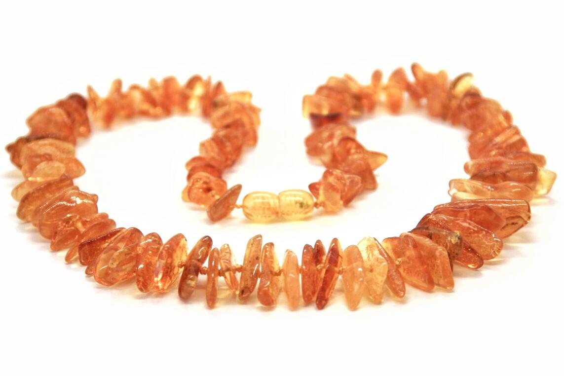 Colar de Âmbar Adulto Mel Chip Polido 70 cm
