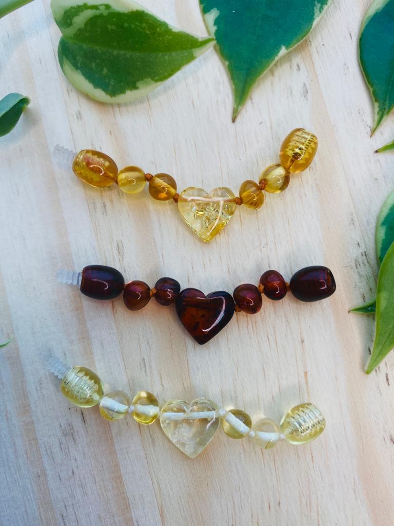 Extensor de Âmbar Limão Coração Barroco Polido - 5 cm