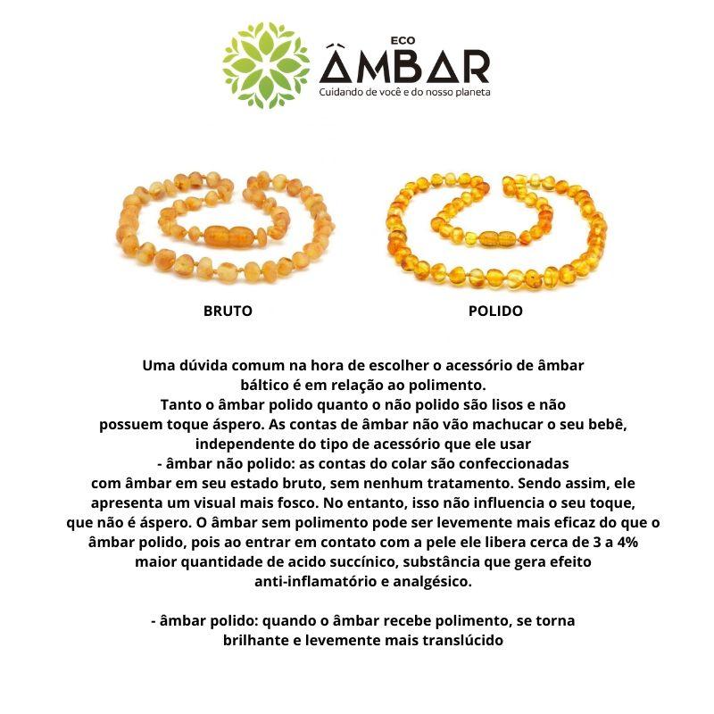 Kit Colar de Âmbar Bebê Mel com Pingente de Coração Barroco Polido - 33 cm e extensor 6cm
