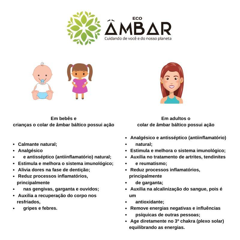 Kit de Âmbar Colar 33cm Bebê + Colar 45cm Adulto - Mel com Quartzo Rosa Barroco Polido