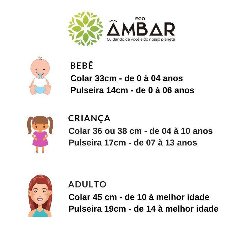 Kit de Âmbar Criança Colar 38cm + Brinco de Prata com Âmbar coração  - Mel Barroco Polido