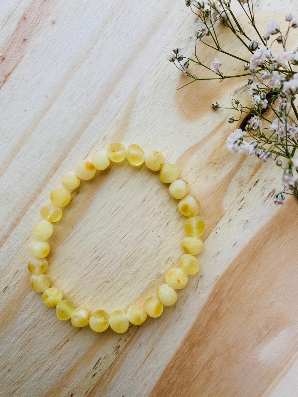 Pulseira de Âmbar Adulto Limão Barroco Bruto - 19 cm silicone