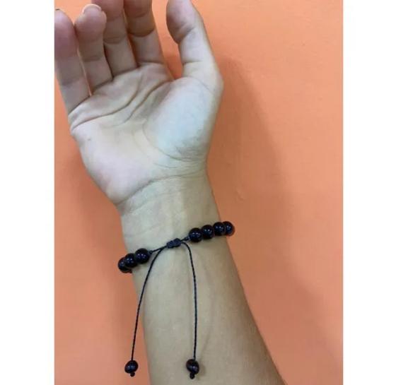 Pulseira Shambala de Âmbar e Pedras Naturais Criança ou Adulto Universo - 16 cm a 22 cm