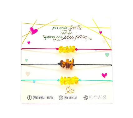Conjunto de 03 Pulseiras Protetoras Âmbar Cognac e Mel Chip Sereias