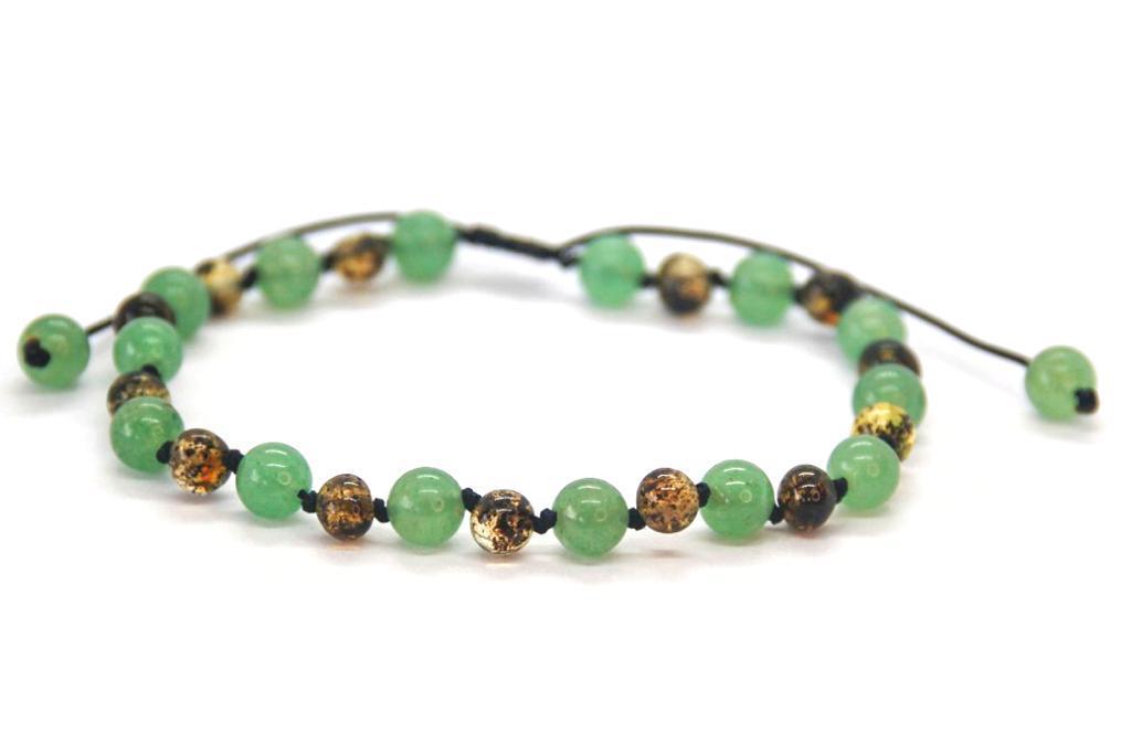 Shambala de Âmbar Adulto Green com Quartzo Verde Barroco Polido - 16 cm a 22cm