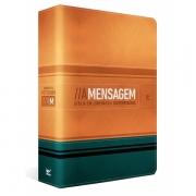 Bíblia A Mensagem  capa luxo laranja e verde