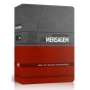 Bíblia de Estudo A Mensagem  capa luxo cinza e vermelho