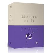 Bíblia de Estudo da Mulher de Fé com Índice  capa luxo violeta e bege
