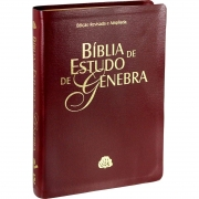 Bíblia de Estudo de Genebra - Couro bonded Vinho: Almeida Revista e Atualizada (ARA)