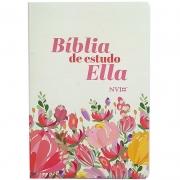 Bíblia de Estudo Ella   NVI   Letra Média   Capa Flexível Flores