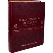 Bíblia de Estudo Holman - Couro sintético Vinho: Almeida Revista e Corrigida (ARC)