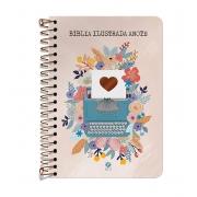 Bíblia Ilustrada Anote NVT espiral - Florescer: Bíblia Ilustrada Anote traz ilustrações e espaços para à sua criatividade