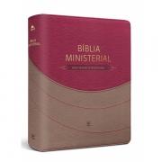 Bíblia Ministerial NVI  capa duotone marrom claro e vermelha