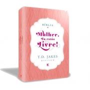 Bíblia Mulher, Tu estás livre  capa luxo rosa e branco / C. índice