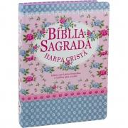 Bíblia Sagrada com Harpa Cristã e capa semiflexiveis.
