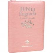 Bíblia Sagrada Letra Gigante / Rosa claro / Ziper - (ARC)