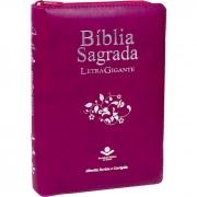 Bíblia Sagrada Letra Gigante / Uva / Ziper - (ARC)