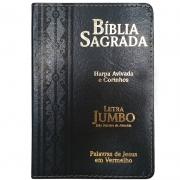 Bíblia Sagrada Letra Jumbo | ARC | Harpa Avivada e Corinhos | Capa PU Luxo Arabesco Preta