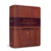 Bíblia Thompson AEC Letra Grande com índice  capa luxo marrom claro e escuro