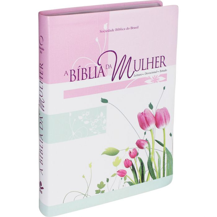 A Bíblia da Mulher | RA | Letra Normal | Couro Bonded | Tamanho Grande | Tulipas