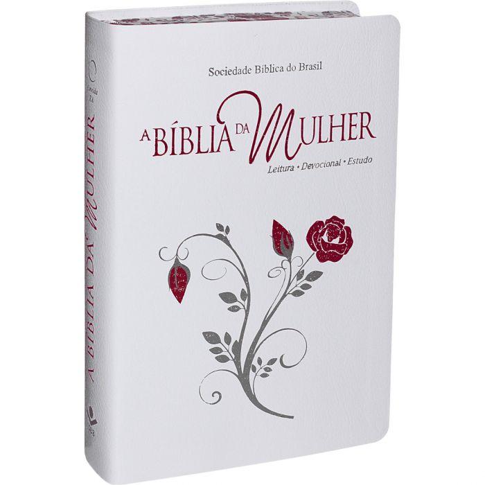 Bíblia de Estudo da Mulher | RA | Letra Normal | Luxo | Branca | Borda Floral