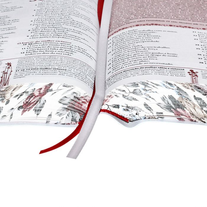 Bíblia de Estudo da Mulher   RA   Letra Normal   Luxo   Branca   Borda Floral  - Universo Bíblico Rs