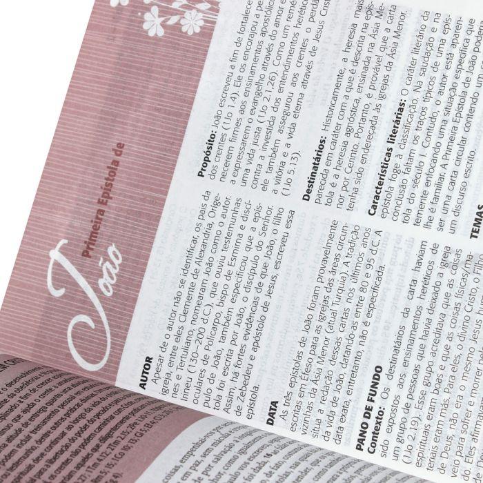 Bíblia da Mulher   RA   Letra Normal   Capa Sintética   Goiaba   Borda Floral  - Universo Bíblico Rs