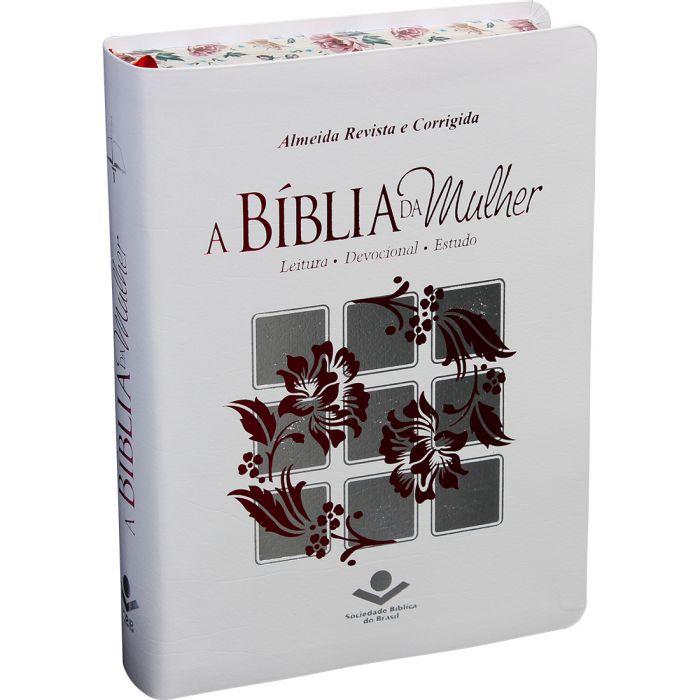 A Bíblia da Mulher | RC | Letra Normal | Couro Bonded | Branca | Borda Florida