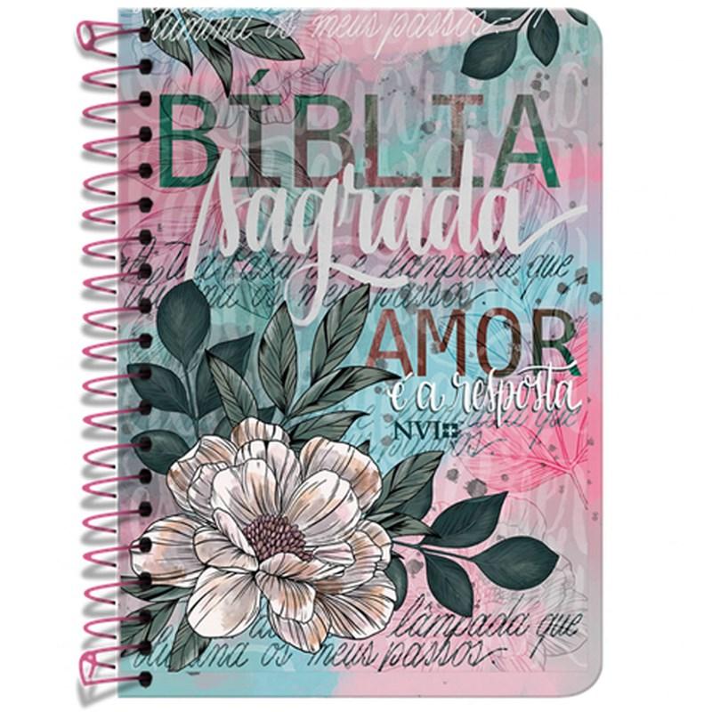 Bíblia Anote Espiral Flor Artística | NVI | Letra Normal | Com Espaço Para Anotações  - Universo Bíblico Rs
