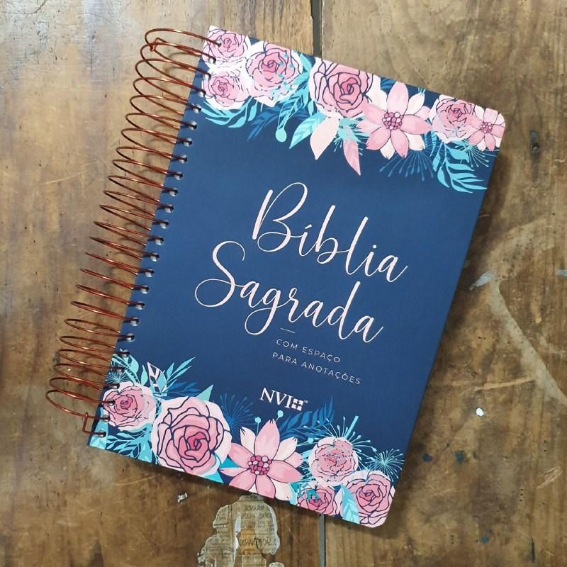Bíblia anote RC grande - Capa rosas  - Universo Bíblico Rs