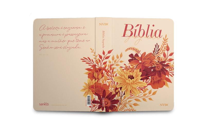 Bíblia Buquê Creme  NVI   Letra Gigante   Capa Soft-Touch  - Universo Bíblico Rs