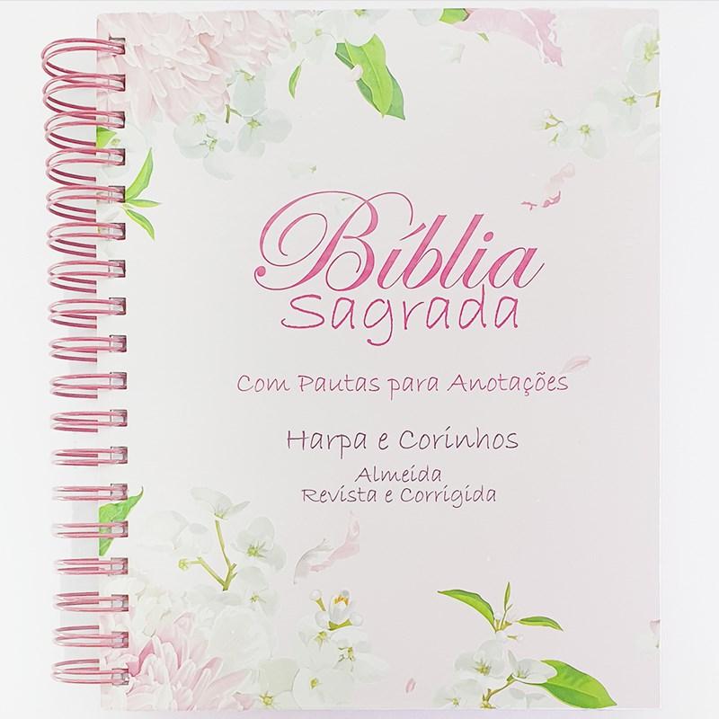 Bíblia com Espaço para Anotações   ARC   Letra Normal   Harpa e Abas   Floral Dalia Espiral