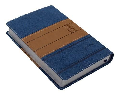 Bíblia de Estudo A Mensagem  capa luxo azul e bege  - Universo Bíblico Rs