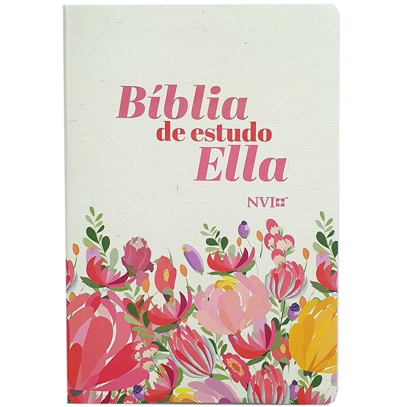 Bíblia de Estudo Ella | NVI | Letra Média | Capa Flexível Flores